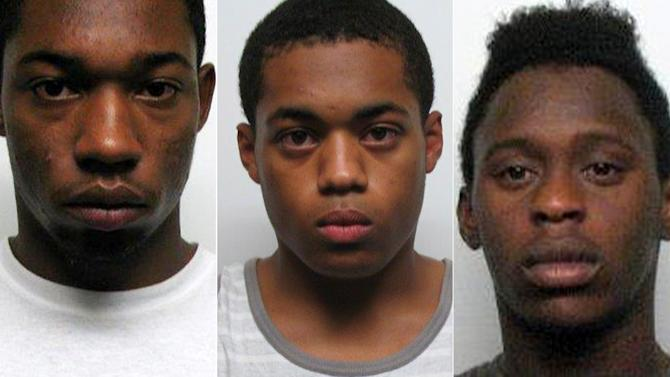 This combination made with photos provided by the Bergen County Prosecutors Office on Tuesday, July 15, 2014 shows, from left, Justin Draper, Craig Howe and Ashari Wilson, all 18. The three are facing aggravated sexual assault charges from what New Jersey authorities say was the sexual assault of a highly intoxicated 15-year-old girl that was videotaped on a cellphone. A 17-year-old faces the same charge as a juvenile. (AP Photo/Bergen County Prosecutors Office)