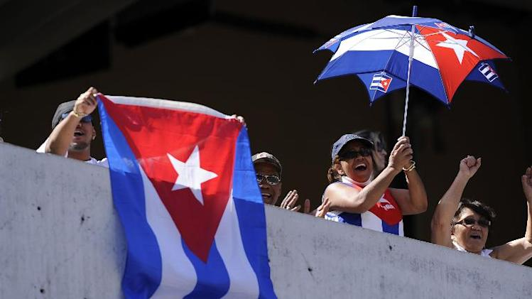Fans of Cuba cheer for their team as they play against Japan during the World Baseball Classic on March 15, 2009 at Petco Park in San Diego, California