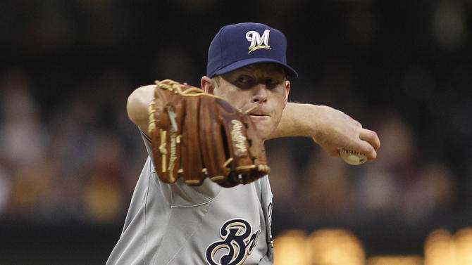 Milwaukee Brewers starting pitcher Randy Wolf works the first inning against the San Diego Padres during a baseball game Monday, April 30, 2012 in San Diego. (AP Photo/Lenny Ignelzi)