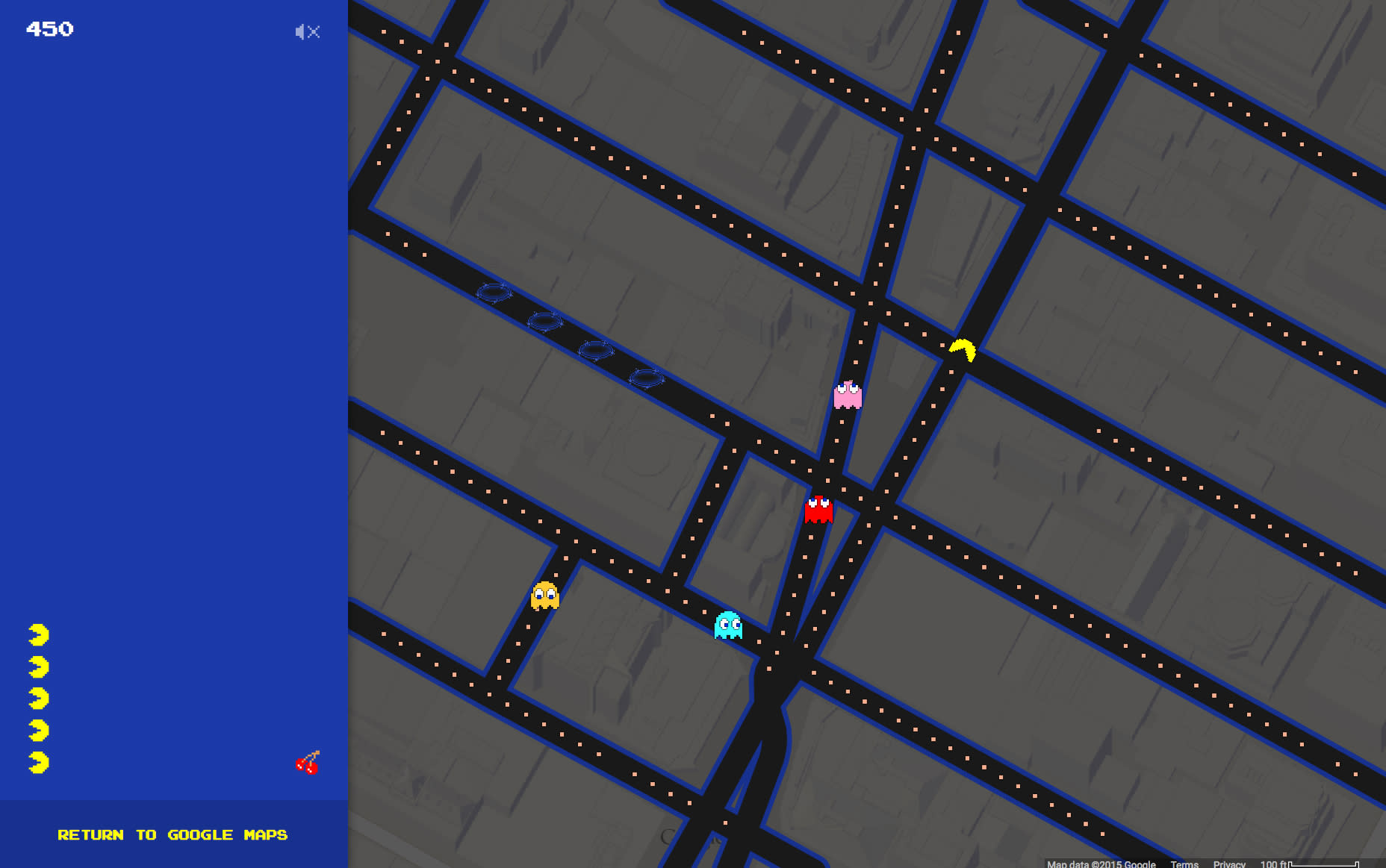 Google Maps turns into Pac-Man's chomping grounds