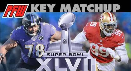 Ravens OLT McKinnie and OLG Osemele vs. 49ers' Smiths