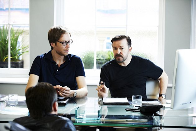 Stephen Merchant, Warwick Davies, and Ricky Gervais in &quot;Life's Too Short.&quot; 