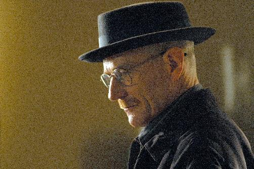 "This image released by AMC shows Walter White, played by Bryan Cranston, wearing a Bollman 1940's pork pie hat in a scene from the second season of ""Breaking Bad."" The series finale of the popular drama series airs on Sunday, Sept. 29. (AP Photo/AMC, Ursula Coyote)"