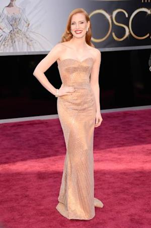 Jessica Chastain stuns in a gorgeous custom Armani gown at the 2013 Oscars  -- Getty Premium