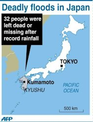 Graphic showing Kyushu in southern Japan where residents braced for a typhoon on Tuesday after torrential rains over the weekend left at least 32 dead or missing