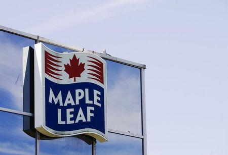 A sign for the Maple Leaf food processing plant is seen in Toront in Toronto