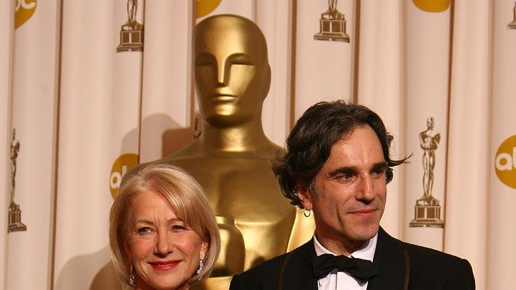 Oscar Press Room 2008 Daniel Day-Lewis Helen Mirren