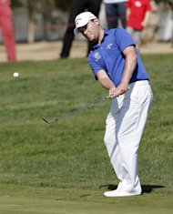 South Africa's Branden Grace takes his shot during the third round of the Abu Dhabi Golf Championship in the Emirati capital, on January 19, 2013. Joburg Open's defending champion Grace took advantage of the bad luck of Charl Schwartzel last year to win the title soon after leaving qualifying school and went on to claim three more titles