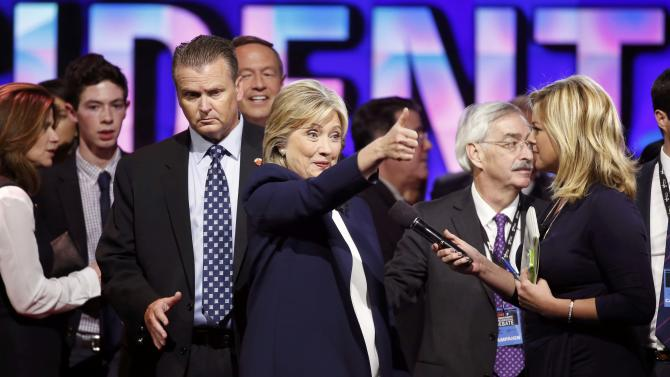 Democratic presidential candidate Hillary Clinton gives a thumbs up to supporters at the end of the first official Democratic candidates debate of the 2016 presidential campaign in Las Vegas