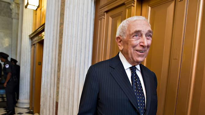 FILE - In this Aug. 2, 2012 file photo, U.S. Sen. Frank Lautenberg, D-N.J., walks in the Capitol after the final votes before a five-week recess, on Capitol Hill in Washington. Lautenberg, a multimillionaire New Jersey businessman and liberal who was called out of retirement for a second tour of duty in Congress, has died at age 89. (AP Photo/J. Scott Applewhite, File)