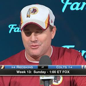 Is Washington Redskins coach Jay Gruden on whether quarterback Robert Griffin III has gotten better or worse