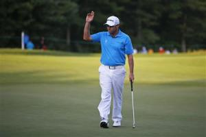 Brian Davis acknowledges crowd after first round of the Deutsche Bank Championship golf tournament in Norton