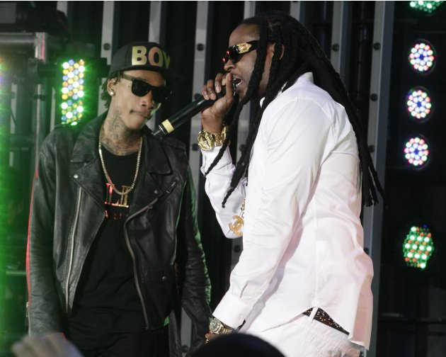 "Rappers Wiz Khalifa and 2 Chainz perform at the premiere of the new film ""Fast & Furious 6"" at Universal CityWalk in Los Angeles"