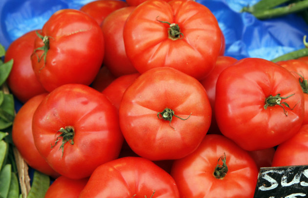 This Monday, May 30, 2011 photo shows tomatoes on a market table in Vienna, Austria. Using genetics, scientists have been able to dig up the dirt on why homegrown tomatoes taste so much sweeter than the ones in the supermarket. Researchers found a genetic switch responsible for some of the sugar production within a tomato. A study in the Friday, June 29, 2012 issue of the journal Science found that the common type of tomato bred for firmness and good shipping also inadvertently turns off the sugar-producing switch. That makes it less sweet and blander than garden varieties. (AP Photo/Ronald Zak)