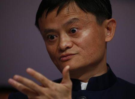 Ma, Founder and Executive Chairman of Alibaba Group, gestures during the session 'An Insight, An Idea with Jack Ma' in the Swiss mountain resort of Davos