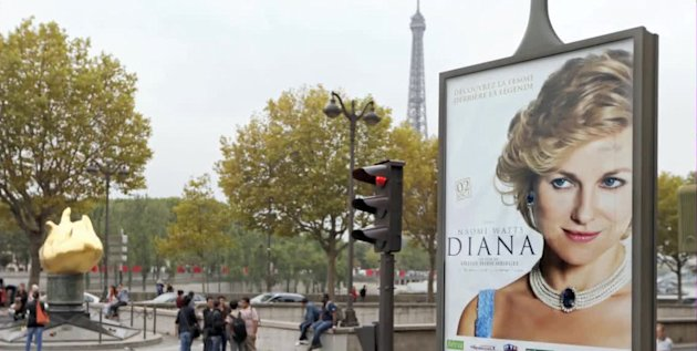 'Diana' movie poster in Paris, near where the late princess died