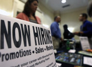 <p>               In this Thursday, Oct. 25, 2012, photo, a sign attracts job-seekers during a job fair at the Marriott Hotel in Colonie, N.Y. According to government reports released Friday, Nov. 2, 2012, the U.S. economy added 171,000 jobs in October, and the unemployment rate ticked up to 7.9 percent. (AP Photo/Mike Groll)