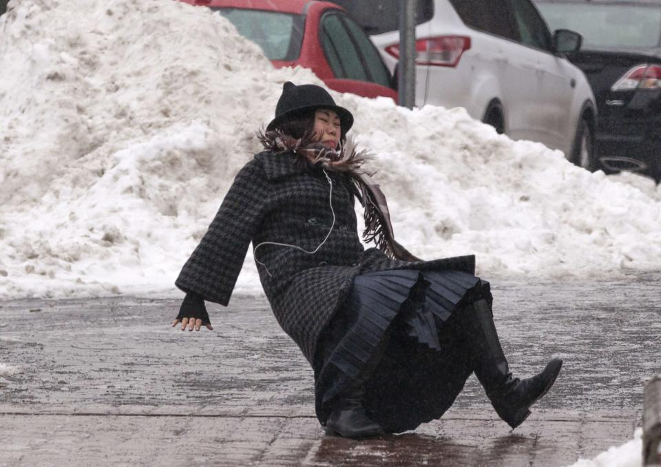 Woman caught in Snow.