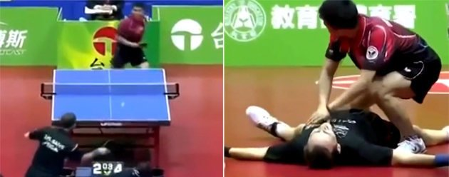 Jean-Michel Saive of Belgium took on Chuang Chih-yuan with the encounter descending into farce. (Yahoo screengrab)