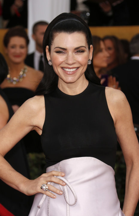 Julianna Margulies arrives at the 19th Annual Screen Actors Guild Awards at the Shrine Auditorium in Los Angeles on Sunday Jan. 27, 2013. (Photo by Todd Williamson/Invision for The Hollywood Reporter/