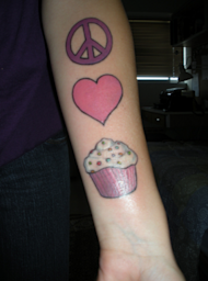 peace love cupcake tattoo