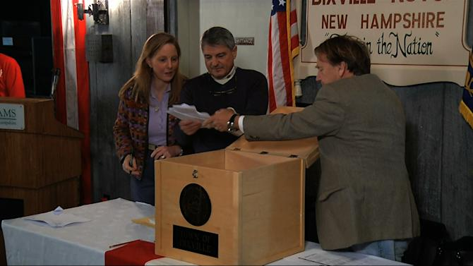 In this still frame made from video, ballots are removed from the ballot box to be counted in Dixville Notch, N.H., Tuesday, Nov. 6, 2012, as they cast the first Election Day votes in the nation. After 43 seconds of voting, President Barack Obama and Republican Mitt Romney each had 5 votes in Dixville Notch. (AP Photo/APTN)