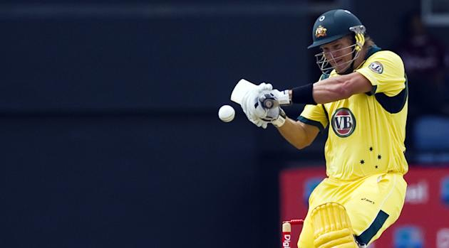 Australian cricketer Shane Watson plays