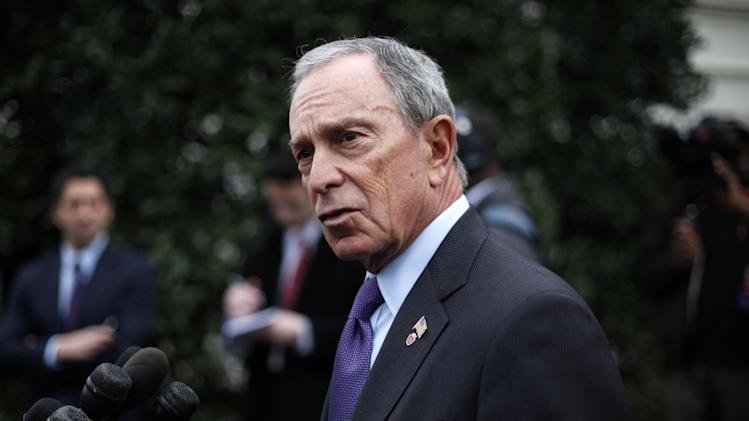 New York City Mayor Michael Bloomberg speaks to members of the media outside the West Wing of the White House in Washington, Wednesday, Feb. 27, 2013, following his meeting with Vice President Joe Biden. (AP Photo/Pablo Martinez Monsivais)