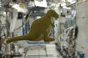 'Made in Space!' Astronaut Sews Dinosaur Toy from Space Station Scraps
