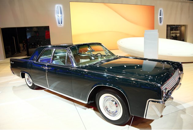 1961 Lincoln Continental Sedan is seen as part of Lincolns Heritage on Display at the Los Angeles Auto Show press day, Wednesday, Nov. 28, 2012 in Los Angeles. (Photo by Matt Sayles/Invision for Linc