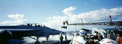 An F/A-18 Superhornet jet in action aboard the U.S.S. Carl Vinson in 20th Century Fox's Behind Enemy Lines