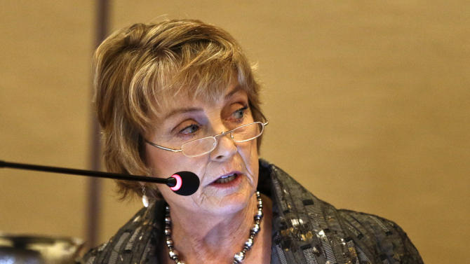 Mary Shellenberger, chairman of the California Costal Commission, addresses the audience at a meeting regarding the effects of US Navy training on marine life off the California coast Friday, March 8, 2013 in San Diego. The U.S. Navy opposes state restrictions on an explosives and sonar training program off the Southern California coast that critics fear will threaten whales and other sea mammals, state regulators were told Friday. (AP Photo/Lenny Ignelzi)
