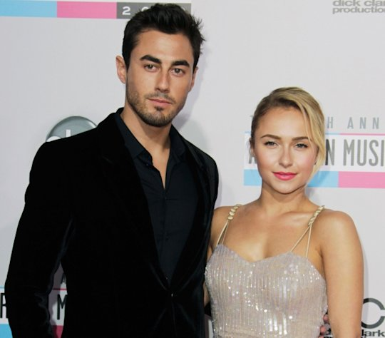 NFL Player Scotty McKnight and Actress Hayden Panettiere attend the 40th Anniversary American Music Awards held at Nokia Theatre L.A. Live on November 18, 2012 in Los Angeles -- Getty Premium