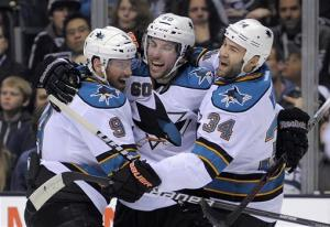 Sharks beat LA 6-5 in shootout, even Pacific race
