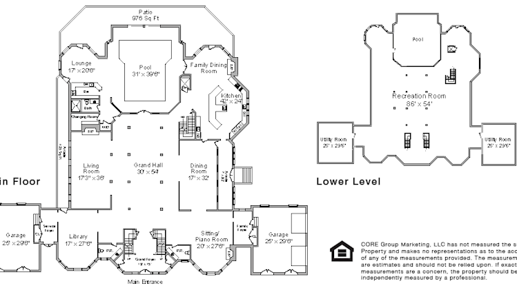 An American 'palace' with a pool at its heart main and lower level floor plan