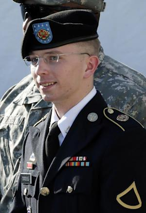 FILE - In a Monday, June 25, 2012 file photo, Army Pfc. Bradley Manning is escorted out of a courthouse in Fort Meade, Md., after a pretrial hearing. Manning, the U.S. Army private charged with sending reams of government secrets to WikiLeaks, is offering to plead guilty to some lesser offenses. Manning's civilian defense attorney, David Coombs, revealed the offer Wednesday, Nov. 6, 2012 during a pretrial hearing at Fort Meade, Md. The hearing continues Thursday. (AP Photo/Patrick Semansky, File)