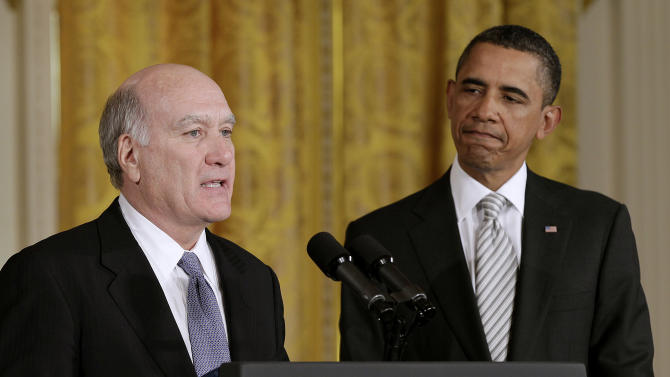 President Barack Obama listens as his new White House Chief of Staff William Daley makes a statement in the East Room of the White House in Washington, Thursday, Jan. 6, 2011. (AP Photo/J. Scott Applewhite)
