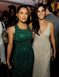 "LOS ANGELES, CA - JUNE 25:  Actors Salma Hayek (L) and Sandra Echeverria pose at the after party for the premiere of Universal Pictures' ""Savages"" at the Armand Hammer Museum on June 25, 2012 in Los Angeles, California.  (Photo by Kevin Winter/Getty Images)"