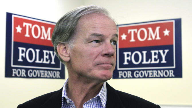File - In this Nov. 3, 2010, file photo GOP gubernatorial candidate Tom Foley talks with reporters in Stamford, Conn., after hearing that Democrat Dan Malloy won a close race for the governor's office. Foley, a former venture capitalist, is expected to run as a Republican for governor of Connecticut again hoping to take advantage of Malloy's low approval ratings this time. (AP Photo/Charles Krupa, File)