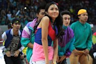 "Kathryn Bernardo performs during Princess and I's ""The Royal Championship"" basketball game between Team Jao and Team Gino held at the Mall of Asia Arena in Pasay city, south of Manila on 20 January 2012."