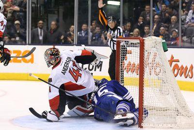 Craig Anderson bats puck out of midair three times to save goal