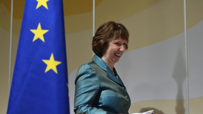 "EU High Representative for Foreign Affairs and Security Policy Catherine Ashton smiles during a press conference after two days of closed-door nuclear talks on Iran in Geneva, Switzerland, Wednesday, Oct. 16, 2013. Talks between Iran and six world powers have ended an upbeat note, with the European Union's top diplomat Ashton calling them ""very important,"" in efforts to end international tensions over Tehran's nuclear program. (AP Photo/Keystone, Martial Trezzini)"
