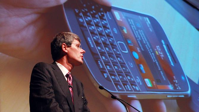 Thorsten Heins, President and CEO of Research in Motion (RIM), speaks at the company's Annual General Meeting, less than two weeks after announcing disappointing financial results, deep job cuts and the latest delay in its BlackBerry 10 software,  in Waterloo, Ontario, Tuesday, July 10, 2012. Analysts believe RIM is running out of time to turn itself around. Sales of the once-pioneering BlackBerry phones fell 41 percent in the latest quarter and likely won't pick up again until new phones come out next year. (AP Photo/The Canadian Press, Dave Chidley)