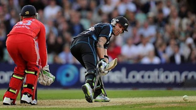 Brendon McCullum, right, top-scored for New Zealand with 68 from 48 balls