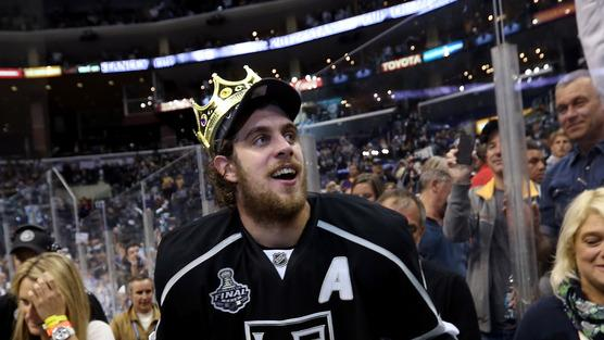 Anze Kopitar #11 Of The Los Angeles Kings Holds Getty Images
