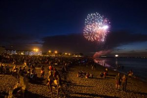 Fireworks for Independence Day are seen in Union Beach, New Jersey