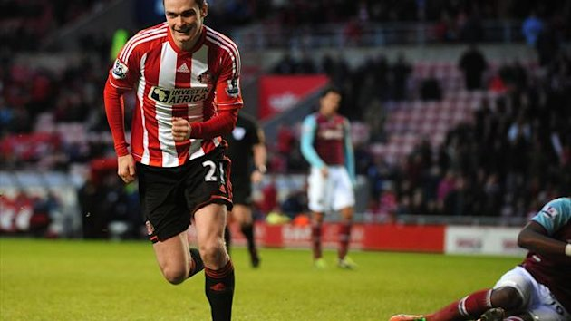 Sunderland's Adam Johnson celebrates scoring at the Stadium of Light
