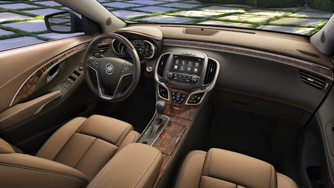 This photo provided by General Motors Co., shows the interior of the 2014 Buick LaCrosse. GM is taking the latest step on its seemingly quixotic quest to revive the Buick brand in the U.S., rolling out refurbished versions of the midsize Regal and the larger LaCrosse in New York. (AP Photo/General Motors Co.)