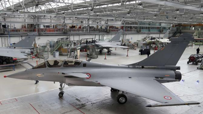 Rafale jet fighters are seen on the assembly line in the factory of French aircraft manufacturer Dassault Aviation in Merignac near Bordeaux