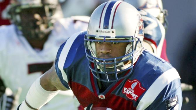 Montreal Alouettes running back Lawrence Phillips runs during CFL action against the Ottawa Renegades in Montrea